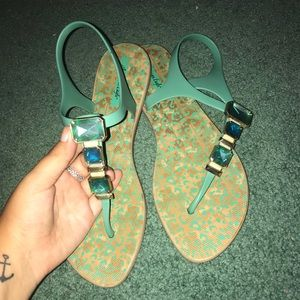 american eagle size 10 teal sandals